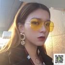 太陽鏡 韓國ulzzang風女潮gd權志龍TOP同款黃色眼鏡復古墨鏡男 一件免運