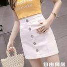 2020夏裝新款韓版高腰修身單排扣牛仔短...