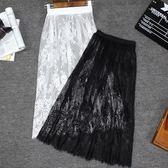 透視襯裙網紗內搭高腰大碼透明中長款打底半身蕾絲裙 茱莉亞嚴選時尚