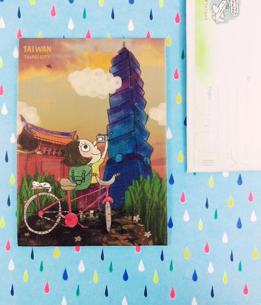 【收藏天地】插畫明信片★立體明信片-台灣台北101/ 送禮 旅遊紀念