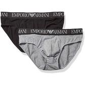 EMPORIO ARMANI阿瑪尼彈力棉三角2件組內著(黑/灰色)