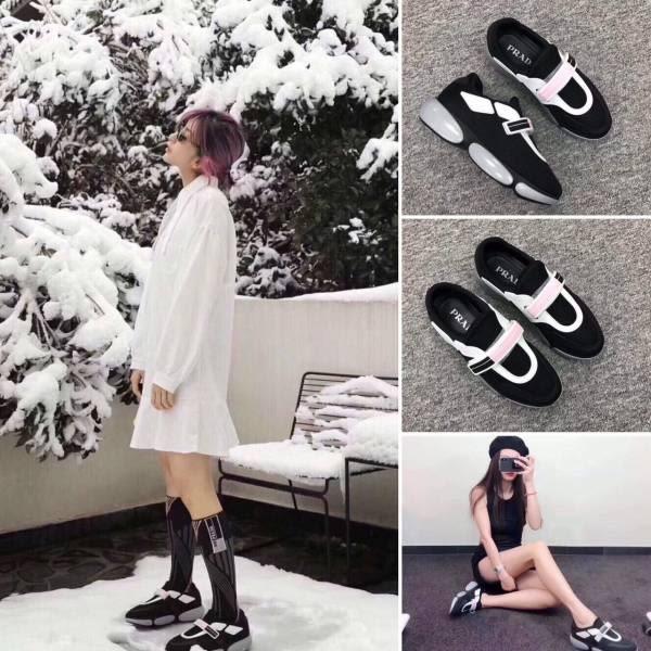 ★2019新款! Prada 黑色魔術貼厚底休閒鞋