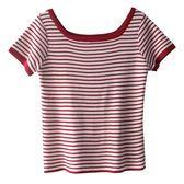 針織上衣  紅條紋短袖修身高腰針織上衣女短款體恤衫春裝 莎瓦迪卡