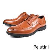 【Pelutini】時尚雕花輕量德比紳士鞋  咖啡(8342-BR)