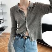 開衫上衣 鹿西法式短款長袖翻領針織衫女2020秋新款外穿修身毛衣外套ss105