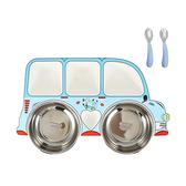 寶寶餐具 學習餐具 分隔餐盤附304不鏽鋼碗湯匙叉子餐具組-JoyBaby