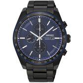 【台南 時代鐘錶 SEIKO】精工 Criteria 太陽能三眼計時腕錶 SSC731P1@V176-0AZ0A 藍/黑 44mm