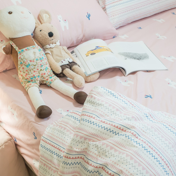 仙人掌小羊  Q2雙人加大床包薄被套四件組  100%精梳棉  台灣製 棉床本舖