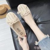 新品豆豆鞋漁夫鞋夏季韓版學生女一腳蹬懶人透氣帆布鏤空百搭平底豆豆鞋 芊墨左岸
