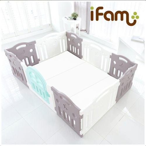 韓國 Ifam G尺寸圍欄套組-灰白搭+灰白雙色地墊(IF-073GW+RU-25)[衛立兒生活館]