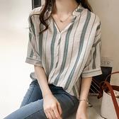 豎條紋棉麻襯衫女夏季薄款外穿復古港味襯衣時尚洋氣百搭氣質上衣 「雙10特惠」