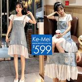 克妹Ke-Mei【ZT52430】JELLY小心機!皮釦肩帶併接膨紗牛仔吊帶裙套裝