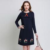 中大尺碼~民族風刺繡長袖連衣裙(L~5XL)