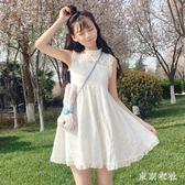 連衣裙 夏裝新款女裝韓版甜美少女學生寬鬆蕾絲無袖百搭顯瘦連衣裙背帶裙 QQ4767『東京衣社』