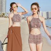 分體泳衣女帶披紗三件套性感韓版小香風小胸聚攏沙灘比基尼泳裝