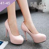 大尺碼女鞋-凱莉密碼-時尚焦點圓頭內防水台漆皮超高跟鞋12cm(41-45)【AE16-9】粉紅