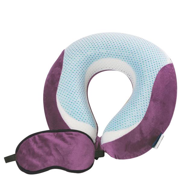 【CUSHY】涼感U型記憶枕+眼罩『葡萄紫』1717031 水冷凝膠.涼感頸枕.乳膠枕.充氣枕.頭靠枕.護頸枕