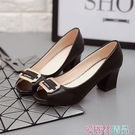 魚嘴鞋 2020春季新款甜美蝴蝶結媽媽工作鞋子女士魚嘴單鞋粗跟高跟鞋中跟 愛麗絲