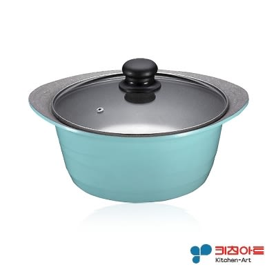 韓國原裝進口Kitchen Art 時尚鈦晶石湯鍋(24cm附玻璃鍋蓋) 鈦石鍋 可燉全雞深湯鍋 一體成型