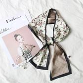 絲巾2021小絲巾綁包帶細長條領巾女韓國百搭裝飾碎花條紋學生新款頭巾交換禮物