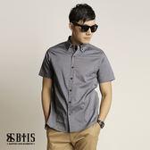 【BTIS】滿版十字印花 短袖襯衫 / 灰藍色