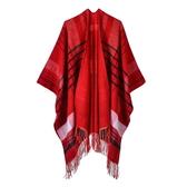 仿羊絨披肩-格紋流蘇加厚保暖女圍巾3色73we6【巴黎精品】