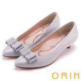 ORIN 浪漫素雅 全真皮造型鑽飾尖頭中跟鞋-灰色