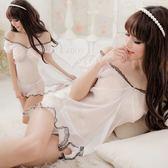 情趣睡衣 超商取貨付款 純潔魅力!薄紗蕾絲二件式公主睡衣 性感睡衣 女衣
