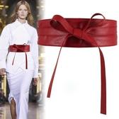腰封 蝴蝶結綁帶女士寬腰帶繫帶裝飾配裙子毛衣外穿簡約百搭黑紅色 - 歐美韓熱銷