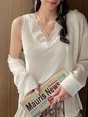 西裝內搭 背心女2021春秋新款蕾絲西裝內搭v領針織小吊帶白色冰絲打底上衣 韓國時尚 618