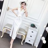 連衣裙女夏2018新款韓版名媛氣質西裝領無袖修身開叉中長款禮服裙