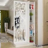 屏風隔斷客廳玄關櫃現代時尚行動門廳裝飾櫃鏤空雕花櫥窗背景 【全館免運】