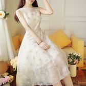 洋裝 韓版 婚禮派對 小禮服 無袖 網紗 蕾絲 連身裙 花漾小姐【預購】