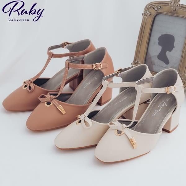 鞋子 T字扭結繫踝粗跟鞋-Ruby s 露比午茶