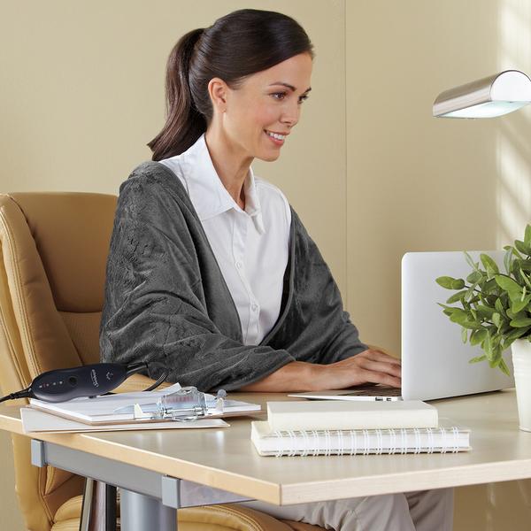 夏繽 Sunbeam 毛披蓋式電熱毯 氣質灰送STASHER 站站矽膠密封袋(顏色隨機)