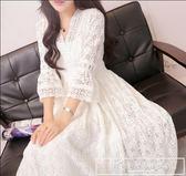 2018夏裝新款大碼長裙V領修身喇叭袖收腰大擺鉤花蕾絲鏤空仙女裙『韓女王』