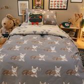 Iron cat 鋼鐵小貓 D2雙人床包雙人薄被套4件組 四季磨毛布 北歐風 台灣製造 棉床本舖