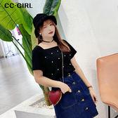 中大尺碼 氣質方領釘珠棉T恤上衣 - 適XL~4L《 68280 》CC-GIRL