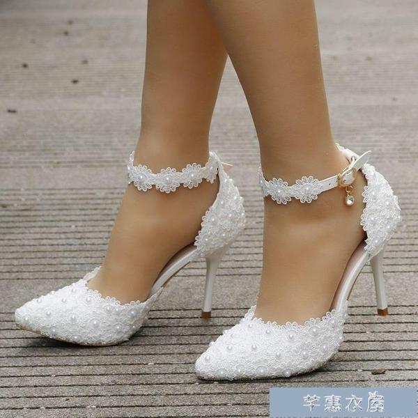 偽娘鞋7厘米細跟尖頭涼鞋大小碼女涼鞋偽娘高跟反串涼鞋白色婚禮新娘 快速出貨