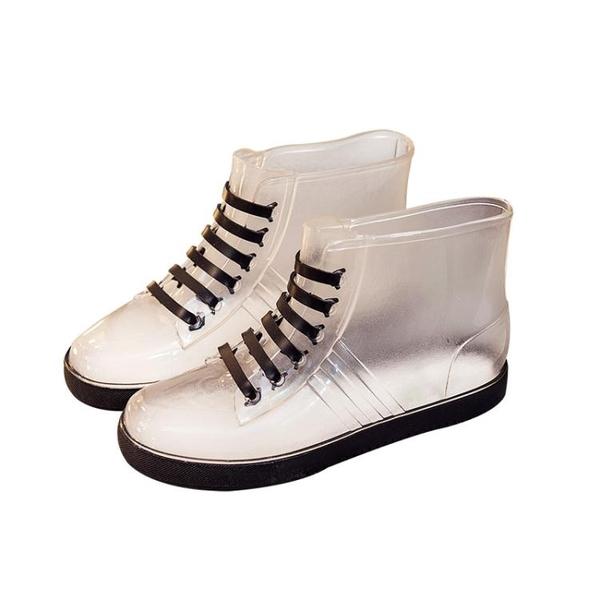 果凍透明防滑時尚雨鞋雨雪靴防水鞋膠鞋套鞋女短筒成人正韓可愛秋冬 【萬聖夜來臨】