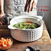 創意帶蓋陶瓷湯碗 家用大號耐高溫雙耳微波爐盛湯碗盆帶蓋  居家物語