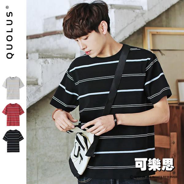 配色橫條紋圓領短袖T恤【RP-TD887】『可樂思』
