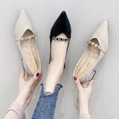 低跟鞋 女秋款2019夏季新款尖頭網紅同款秋鞋潮鞋粗跟夏款女鞋子