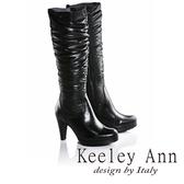 ★2016秋冬★Keeley Ann完美顯瘦~輕柔羽絨拼接真皮高跟長靴(黑色)