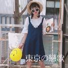 吊帶裙 韓版背心條紋連身裙 東京戀歌
