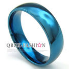 《 QBOX 》FASHION 飾品【R10023313】精緻個性素面藍色鈦鋼戒指/戒環(0.6cm)