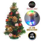 聖誕樹-摩達客 台灣製迷你1呎/1尺(30cm)裝飾綠色聖誕樹((紅寶石金松果系)+LED20燈彩光插電式