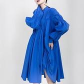 長袖洋裝-不規則皺褶寬鬆藍色女連身裙73yh32【巴黎精品】