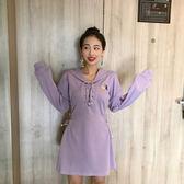 現貨 2019新款女裝春裝連衣裙新款韓版流行氣質顯瘦裙子系帶休閒衛衣裙 長袖 洋裝連身裙