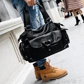 旅行袋新款大容量背包男士出差檔公事包皮質手提包單肩包旅行包大包 蘿莉小腳ㄚ